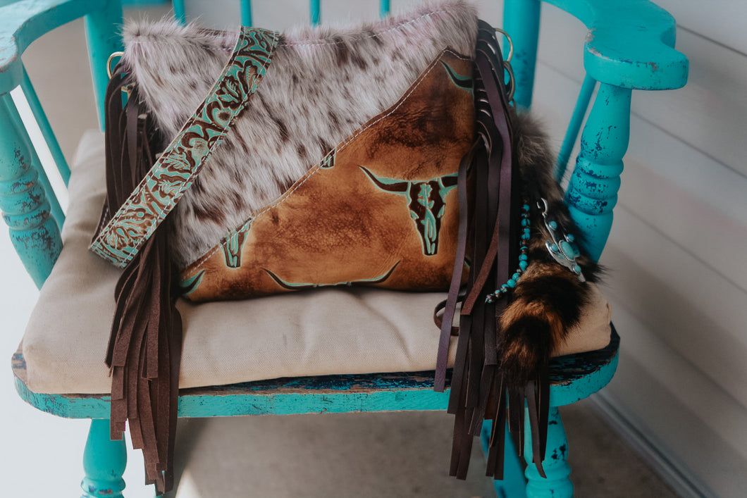 Tan Turquoise Longhorn with Speckled Small Dolly