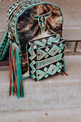 Turquoise Brown Navajo and Brindle Longhorn Classic Backpack
