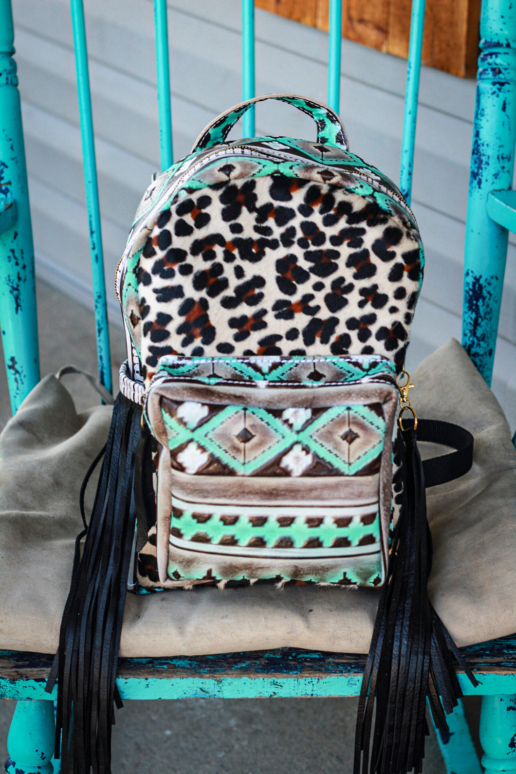 Turquoise Cocoa Navajo with Leopard Classic Backpack