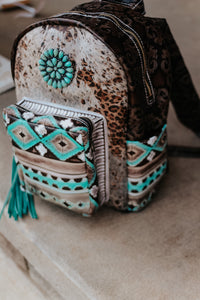 Paper Italy Leopard with Native American Turquoise Cocoa Classic Backpack
