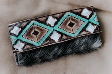 Load image into Gallery viewer, Turquoise Cocoa Black and White Hide Wallet