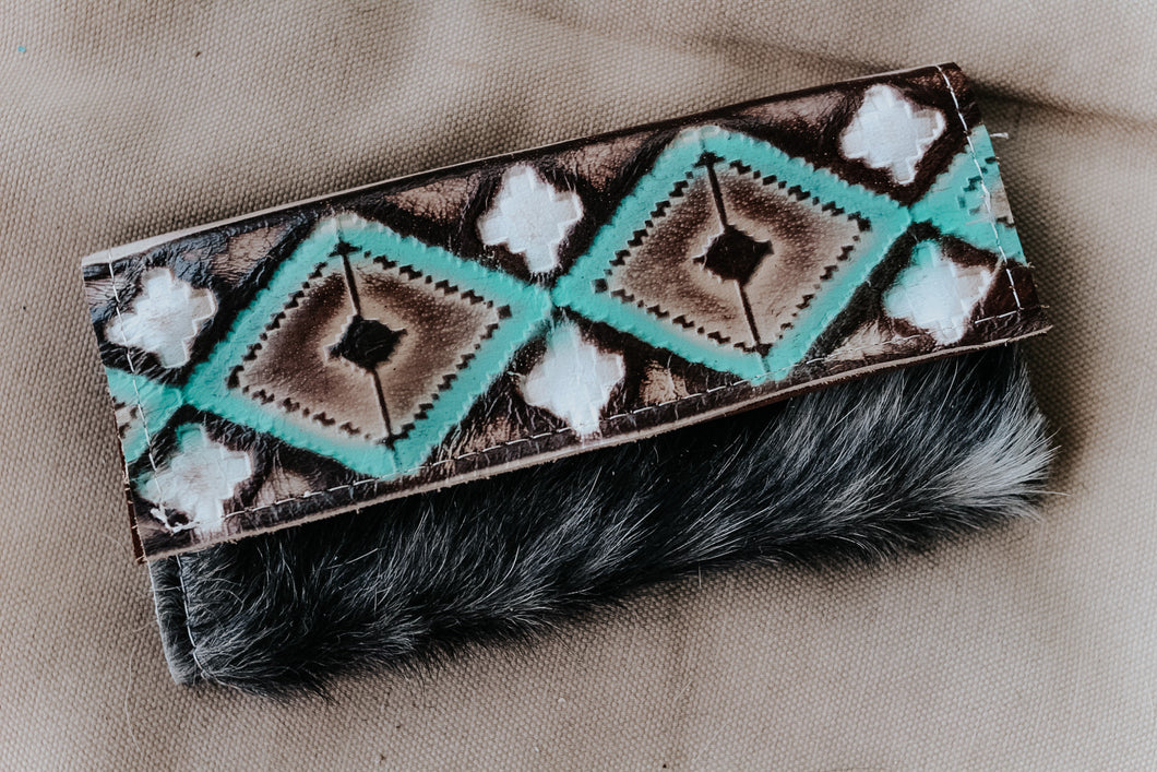 Turquoise Cocoa Black and White Hide Wallet