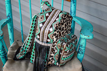 Load image into Gallery viewer, Turquoise Cocoa Navajo with Leopard Classic Backpack