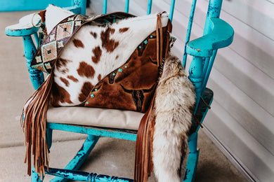 Tri-Speckled Tan Longhorn Patsy with Turquoise Brown Navajo