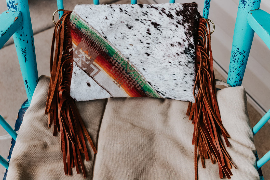 Sunset Pendleton with Speckled Cowhide Maybelle