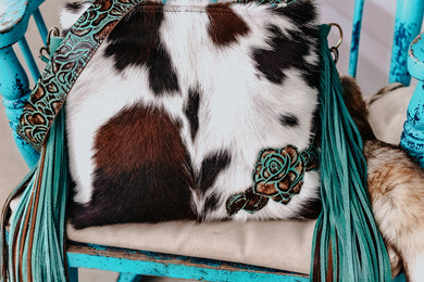 Tri-Color Cowhide with Turquoise Brown Roses Kindall