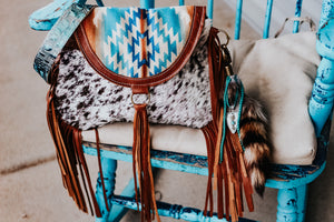 Turquoise Pendleton with Speckled cowhide and Turquoise Croc Small Juney