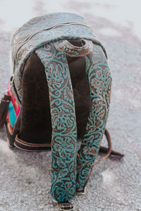 Pink and Turquoise Pendleton with Speckled Cowhide Backpack