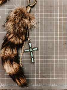Tail with Turquoise Cross and neutral beads