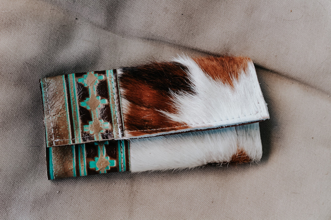 Turquoise Brown with Tri-Color Hide Wallet