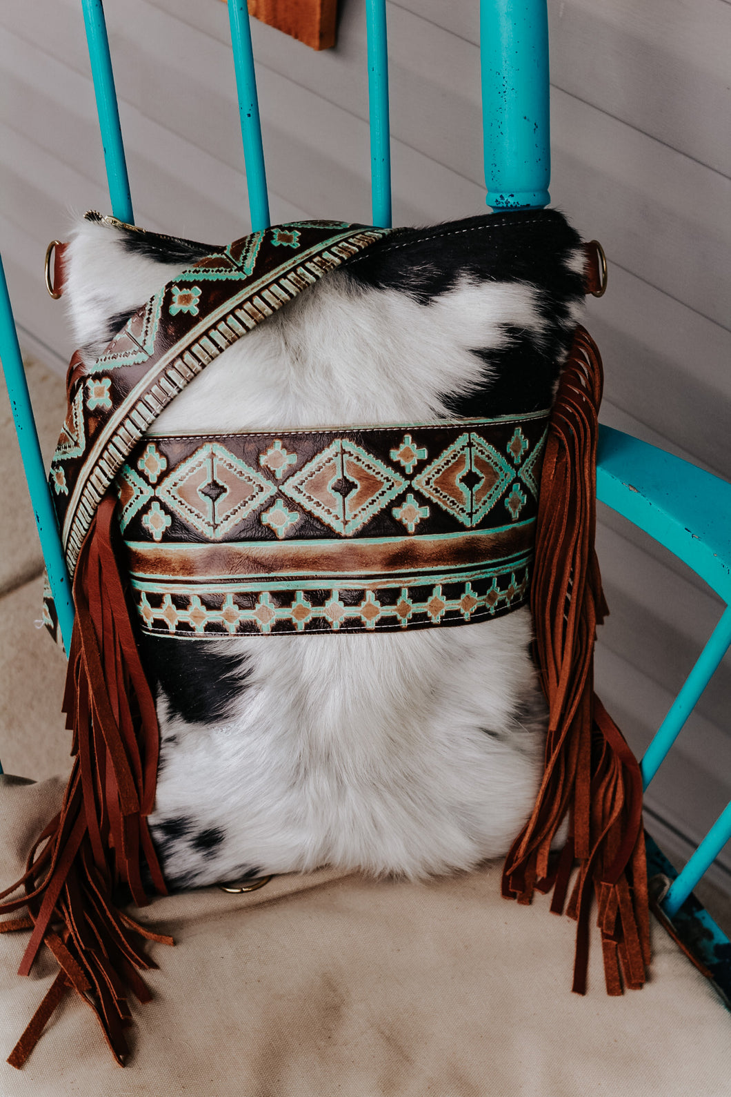 Native American Turquoise Brown Black and White Hide Backpack