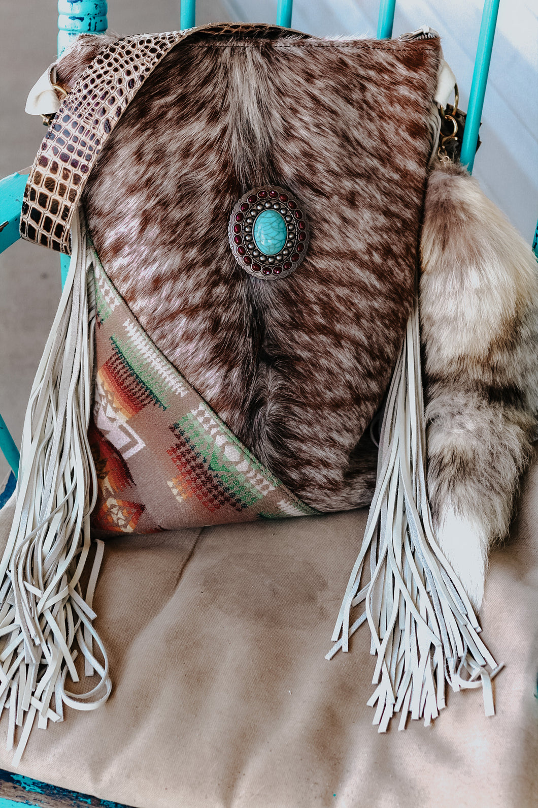 Speckled cowhide with Pendleton Backpack/Shoulder Bag