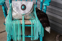 Load image into Gallery viewer, Acid Wash Silver, White/Grey Python, with Light Turquoise Fringe Small Juney
