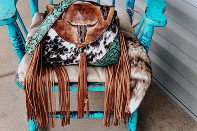 Tan Longhorn with Black Speckled and Turquoise Cowboy Tool Small Juney
