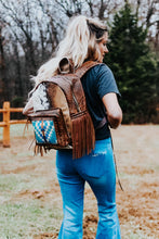 Load image into Gallery viewer, Bright Blue Pendleton and Sepia Croc Classic Backpack