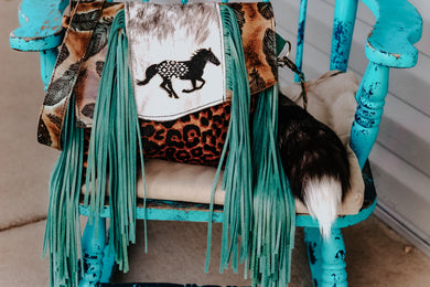Horse Aztec Engraved with Leopard/Feathers Reba with a Flap