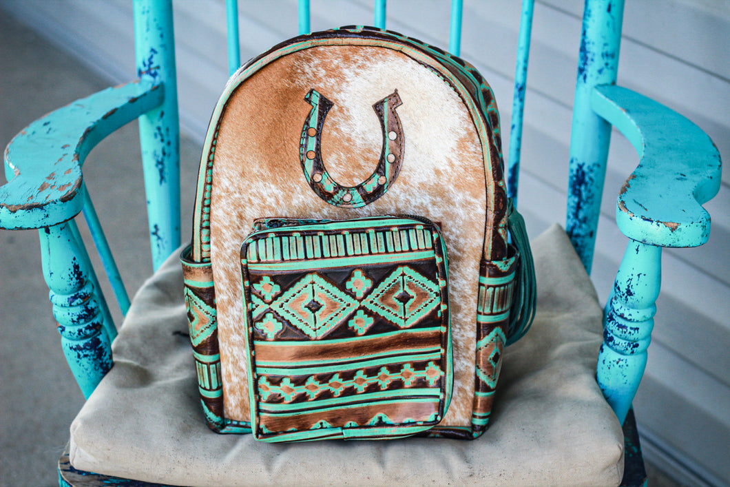 Turquoise Brown Navajo with Horseshoe Classic Backpack