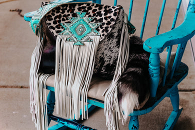Leopard with Aztec Fringed Flap and Black/White Speckled Cowhide Large Juney
