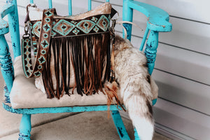 Turquoise Brown Navajo with Light Speckled Cowhide Dolly