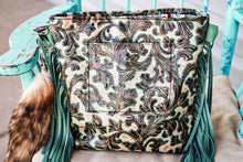 Load image into Gallery viewer, Turquoise Valentina with Thick Repurposed LV and Tri-Color Cowhide Patsy