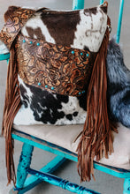 Load image into Gallery viewer, Carmel Roses and Tri-Color Cowhide Shoulder Bag/Backpack