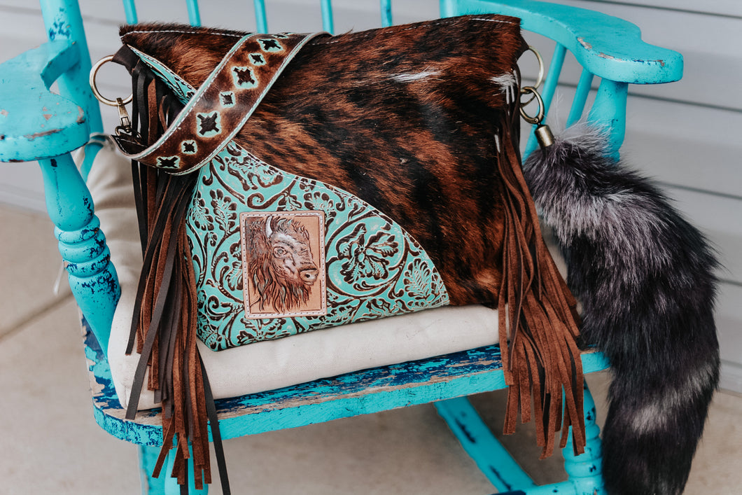 Turquoise Cowboy Tool with Bison Patch and Dark Brindle