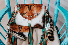 Load image into Gallery viewer, Tan Longhorn with Tri-Color Cowhide Multi Fringe