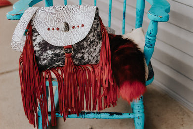 White/Grey Python and Peppered Hide with Headress and Red Fringe Small Juney