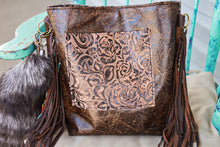 Load image into Gallery viewer, Tan/Brown Roses with Thick Repurposed LV and Speckled Cowhide Patsy