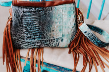 Load image into Gallery viewer, Turquoise Pendleton with Speckled cowhide and Turquoise Croc Small Juney