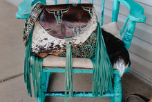 Load image into Gallery viewer, Dark Turquoise Longhorn Juney with Turquoise Roses Speckled Cowhide Juney