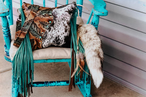Feathers and Speckled Cowhide Reba