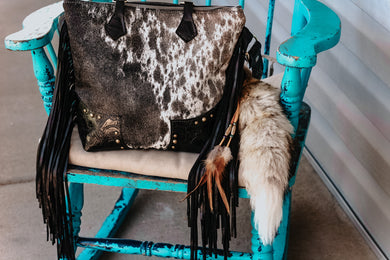 Speckled to Light Cowhide with Black Roses Patsy