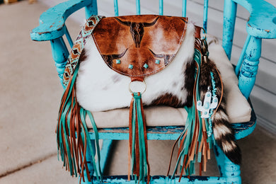 Tan Longhorn with Tri-Color Cowhide Multi Fringe
