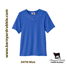 Load image into Gallery viewer, Solid Color, Diamond Neck, Embroidered Detail - Short Sleeve