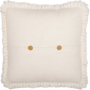 BURLAP ANTIQUE WHITE PILLOW W/ FRINGED RUFFLE 18X18