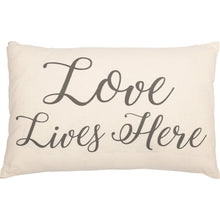 Load image into Gallery viewer, CASEMENT NATURAL LOVE LIVES HERE PILLOW 14X22