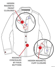 Load image into Gallery viewer, Men's Dress Shirt , Long Sleeve- Magnetic Buttons