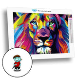 Broderie Diamant Lion Multicolore