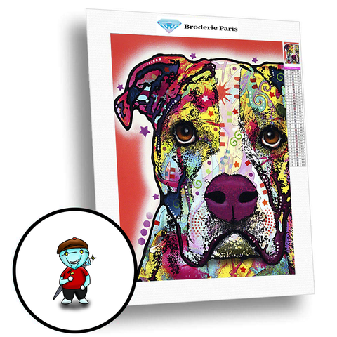 Broderie Diamant Pit Bull Terrier Americain - Broderie Paris