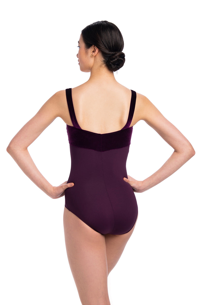 Square Neck Leotard with Velvet