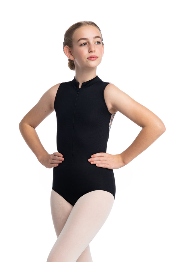 Girls Zip Front Leotard with Paris Print (1062PR G)