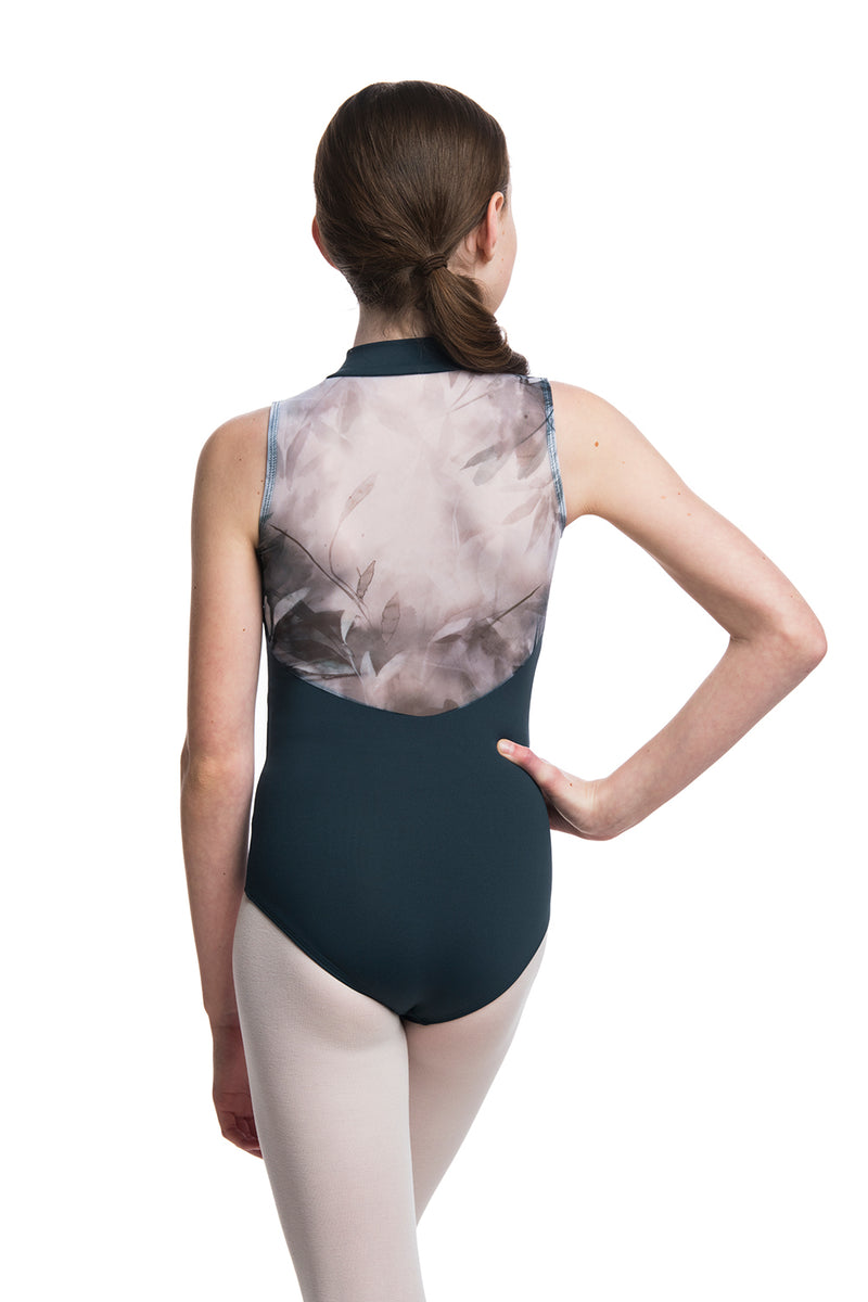 Girls Zip Front Leotard with Misty Watercolour Print