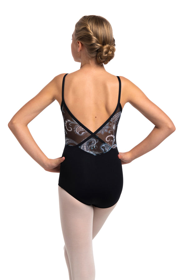 Girls Allegra Pinch Leotard with Paisley Print