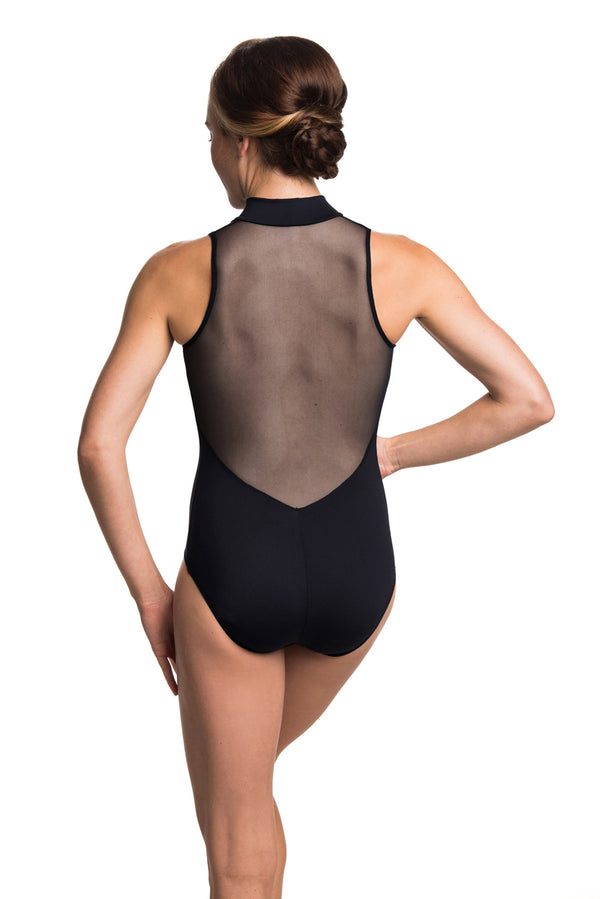 Zip Front Leotard with Mesh