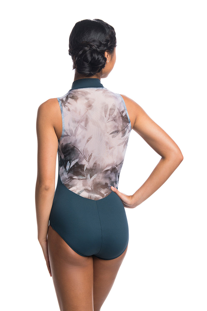 Zip Front Leotard with Misty Watercolour Print