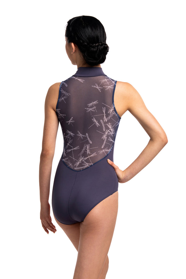 Zip Front Leotard with Dragonfly Print
