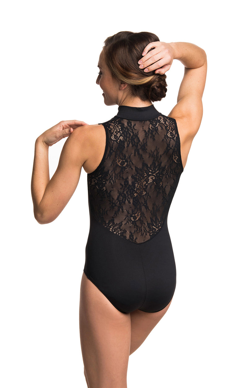Zip Front Leotard with Kara Lace