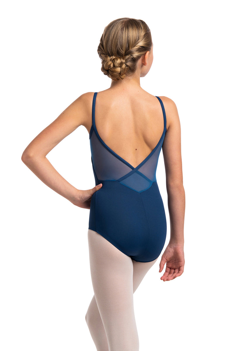 Girls Allegra Pinch Leotard with Mesh