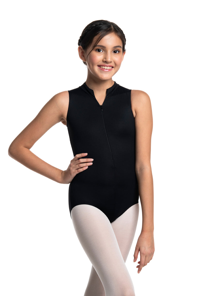 Girls Zip Front Leotard with Lola Lace (1062LL G)